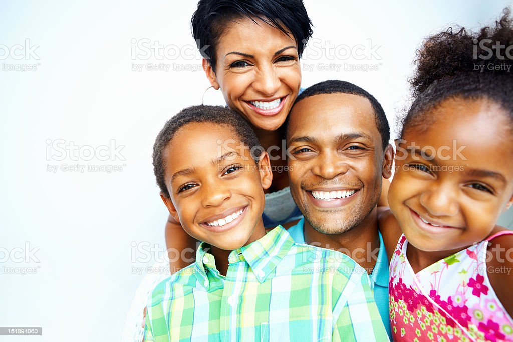 Smiling African American family portrait stock photo
