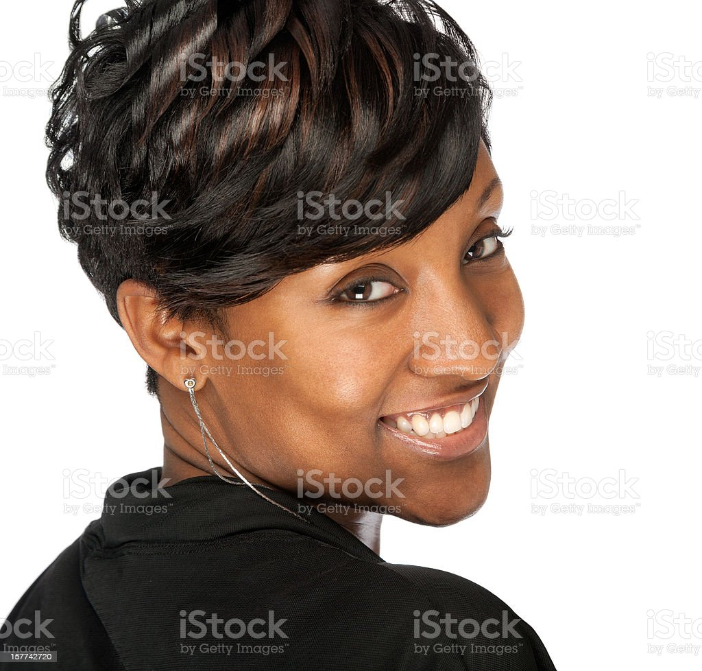 Smiling African American Hair Model Woman Looking Over Shoulder Isolated stock photo