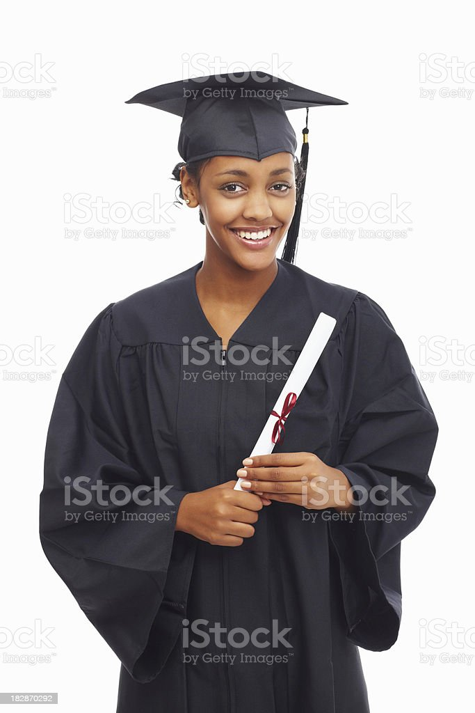 Smiling African American student holding a graduation certificate stock photo