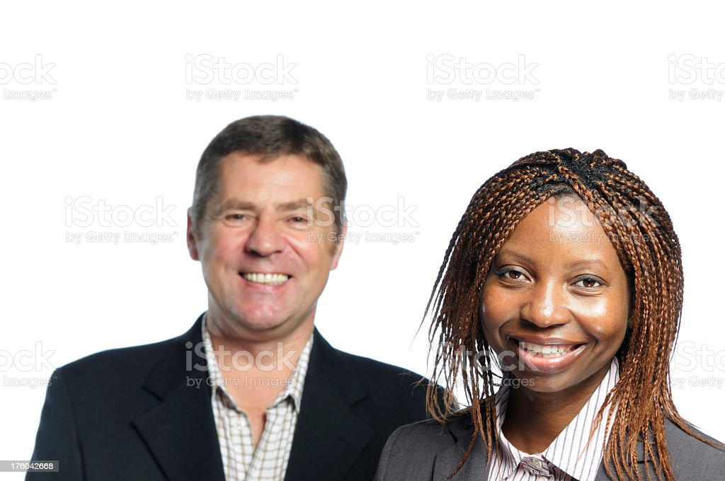 Smiling African American woman and Caucasain Man stock photo