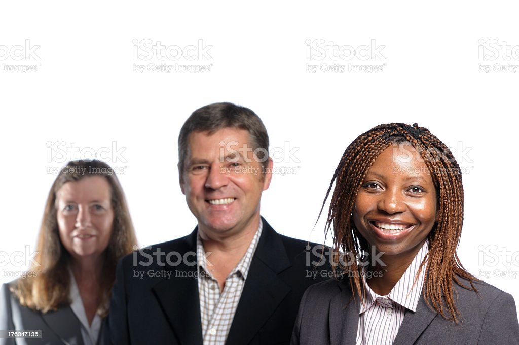 Smiling African American woman and her Team stock photo