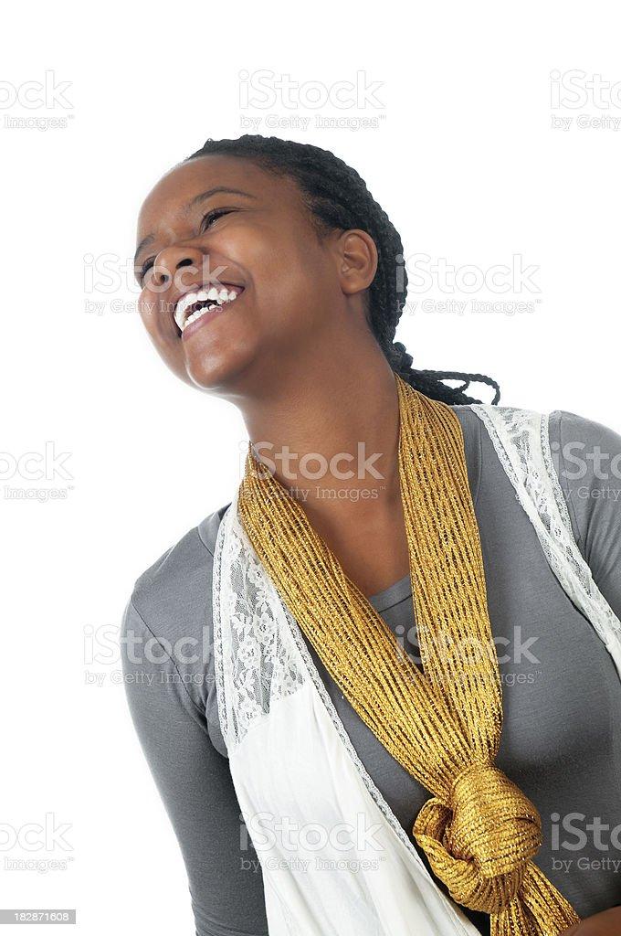 Smiling African American Young Woman Isolated on White royalty-free stock photo