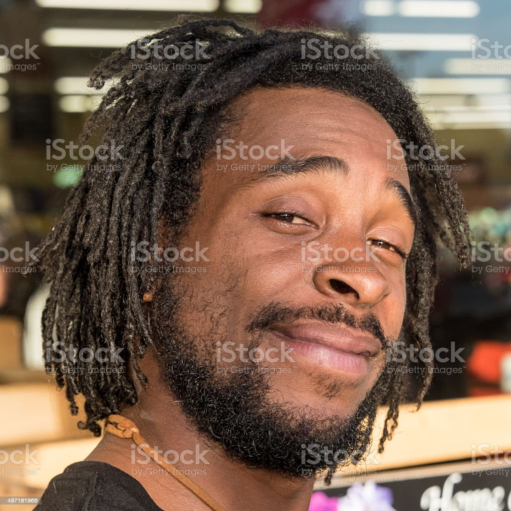 Smiling Afro caribbean man stock photo
