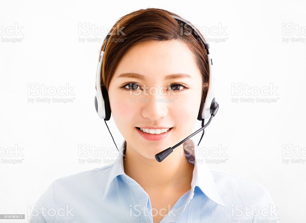 Smiling agent business woman with headsets stock photo
