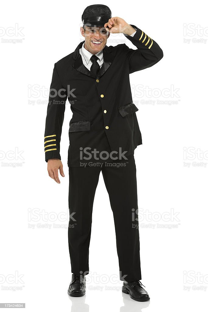 Smiling airline pilot royalty-free stock photo