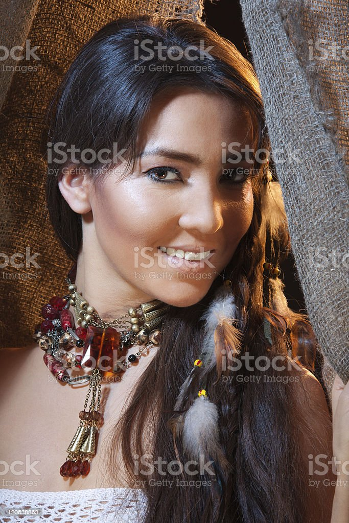 Smiling American Indian female stock photo