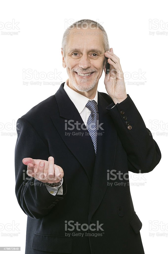 Smiling and Agreeable Businessman on Phone stock photo