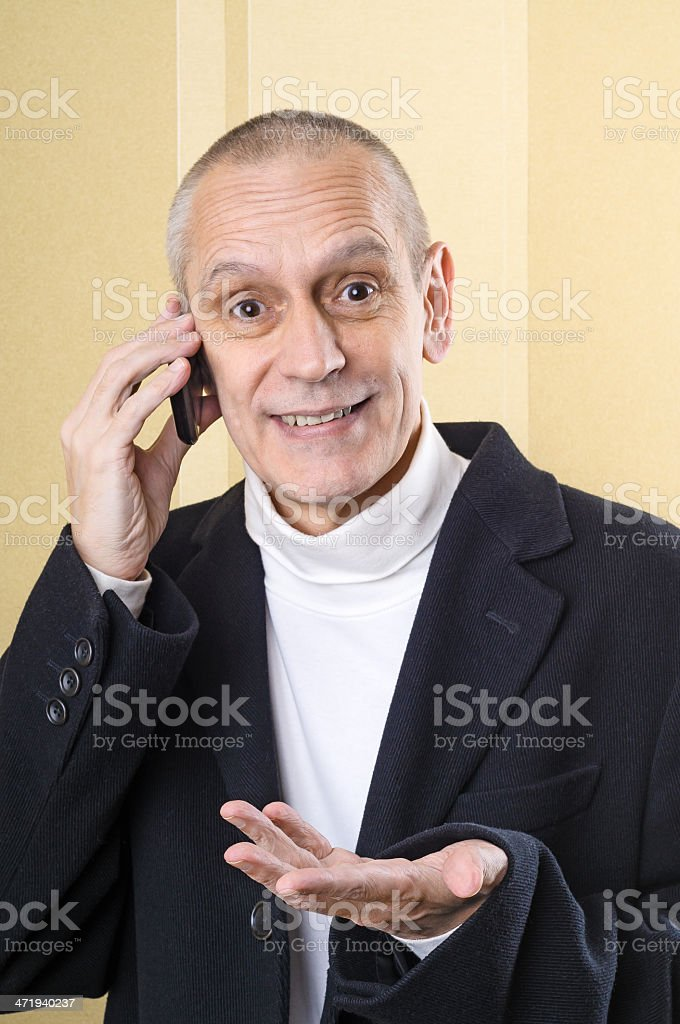 Smiling and Agreeable Man on Phone stock photo