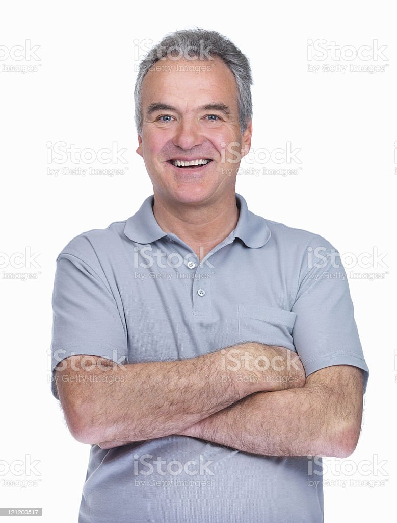 Smiling and confident elderly man standing isolated on white royalty-free stock photo