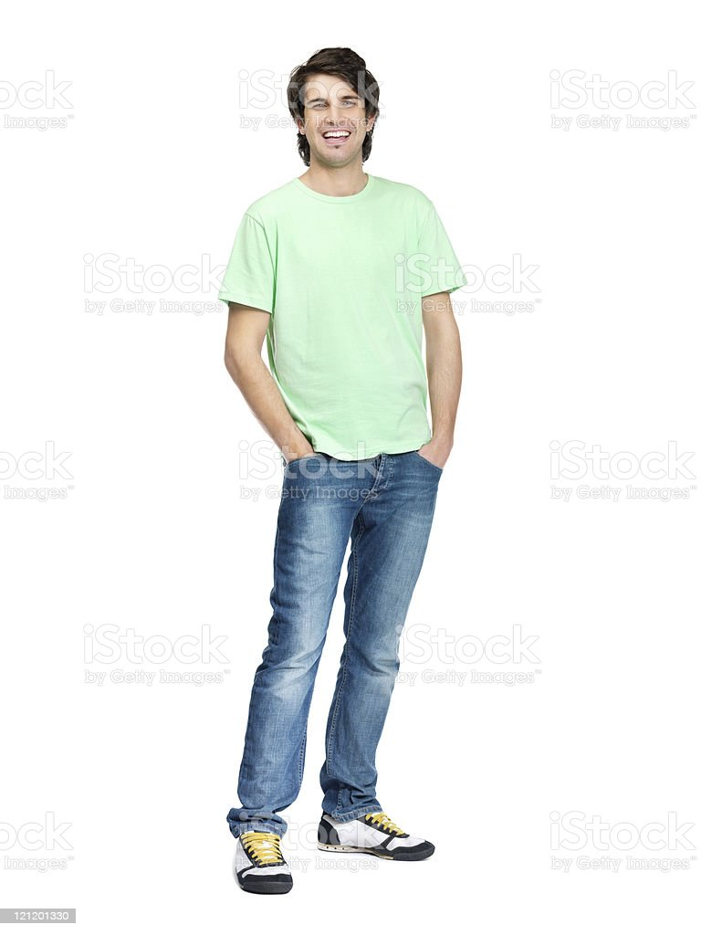 Smiling and handsome guy standing isolated against white royalty-free stock photo