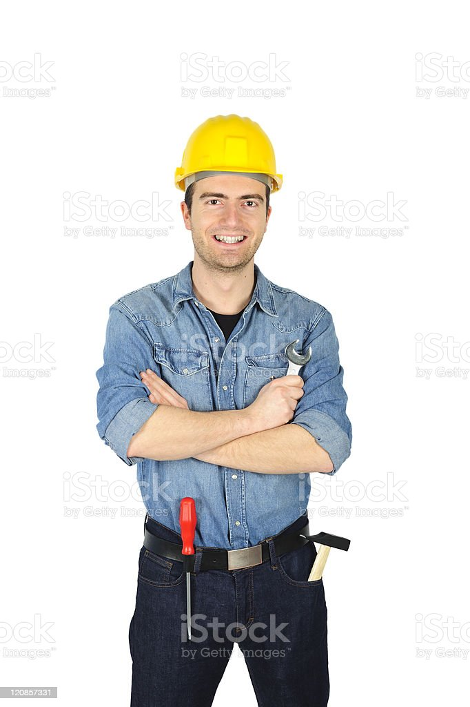 Smiling and happy worker royalty-free stock photo