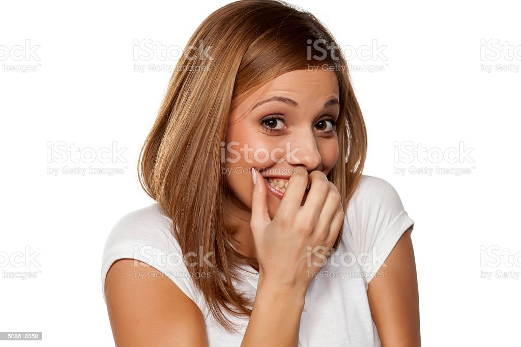 smiling and shy stock photo