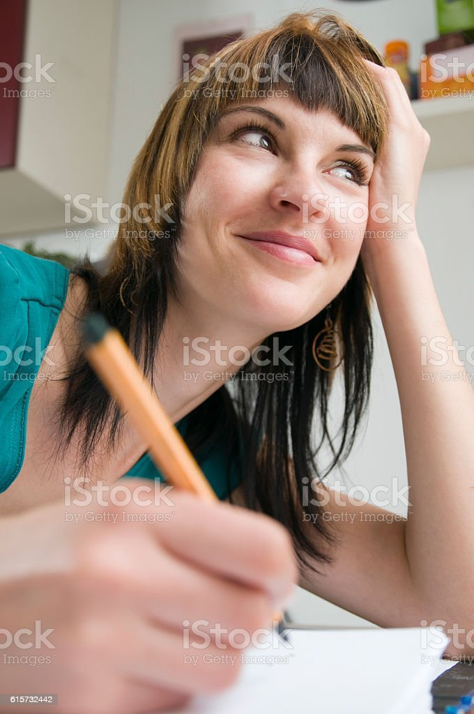 smiling and side look stock photo