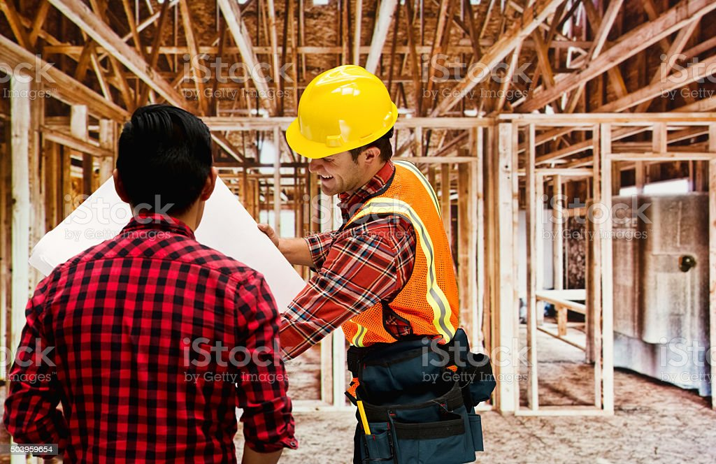 Smiling architect discussion with client stock photo