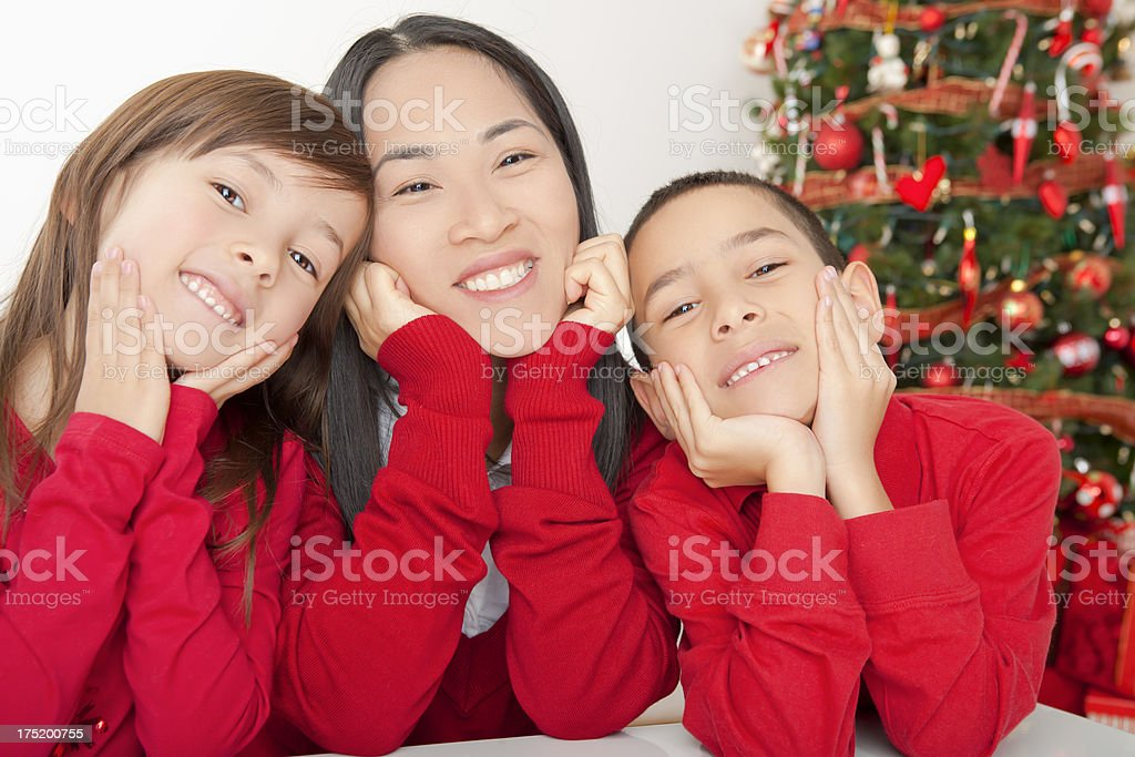 Smiling asian family christmas portrait royalty-free stock photo
