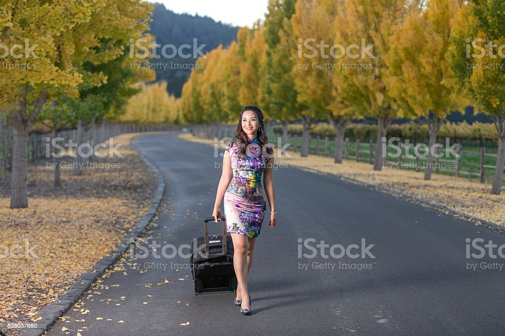 Smiling Asian Girl Enjoy the Autumn at Napa Valley, California stock photo