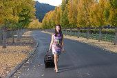 Smiling Asian Girl Enjoy the Autumn at Napa Valley, California