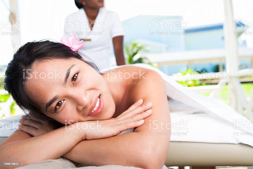 Smiling asian woman at the spa royalty-free stock photo