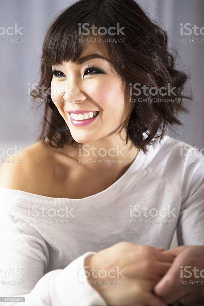 Smiling asian woman portrait stock photo
