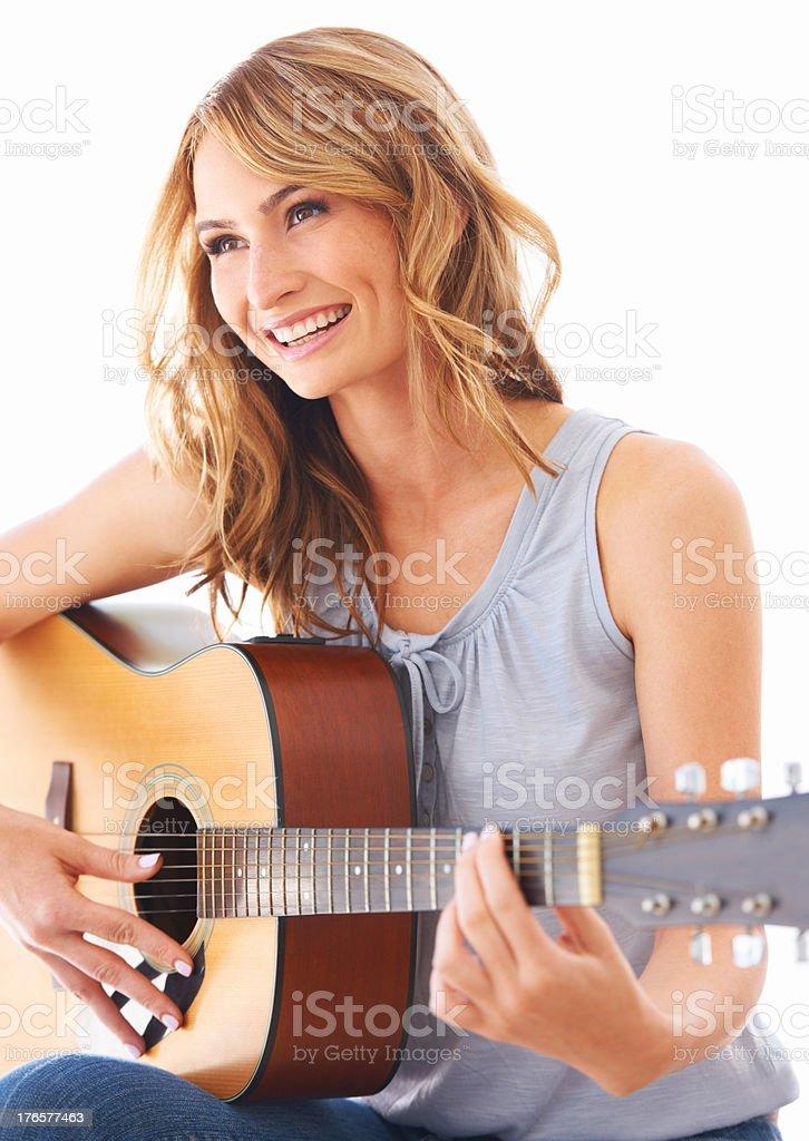 Smiling at a sweet melody stock photo