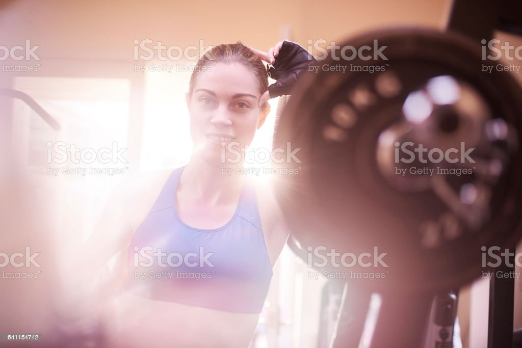 smiling at the gym stock photo