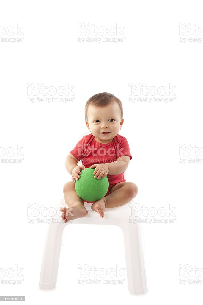 Smiling Baby Boy with a Ball royalty-free stock photo