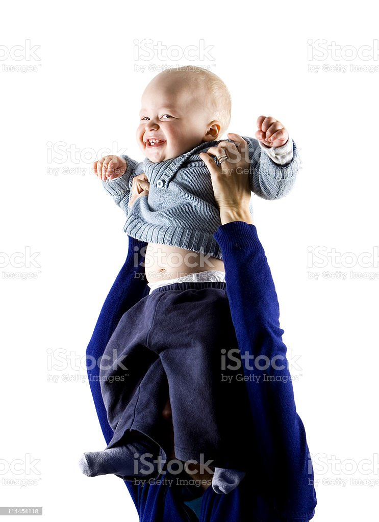 Smiling Baby Held Up royalty-free stock photo