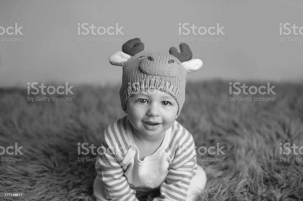 Smiling Baby Wearing Knit Hat royalty-free stock photo