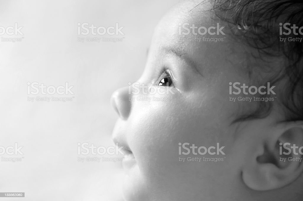 Smiling Baby's Profile, Black and White royalty-free stock photo