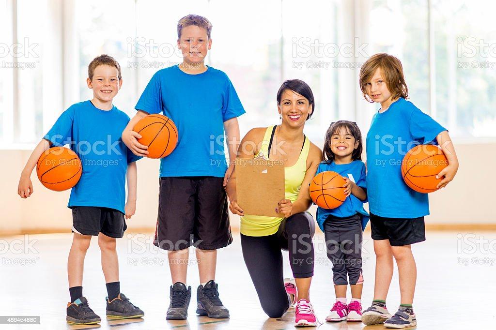 Smiling Basketball Team stock photo