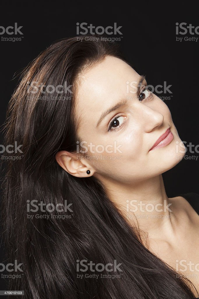 smiling beautiful brunette royalty-free stock photo
