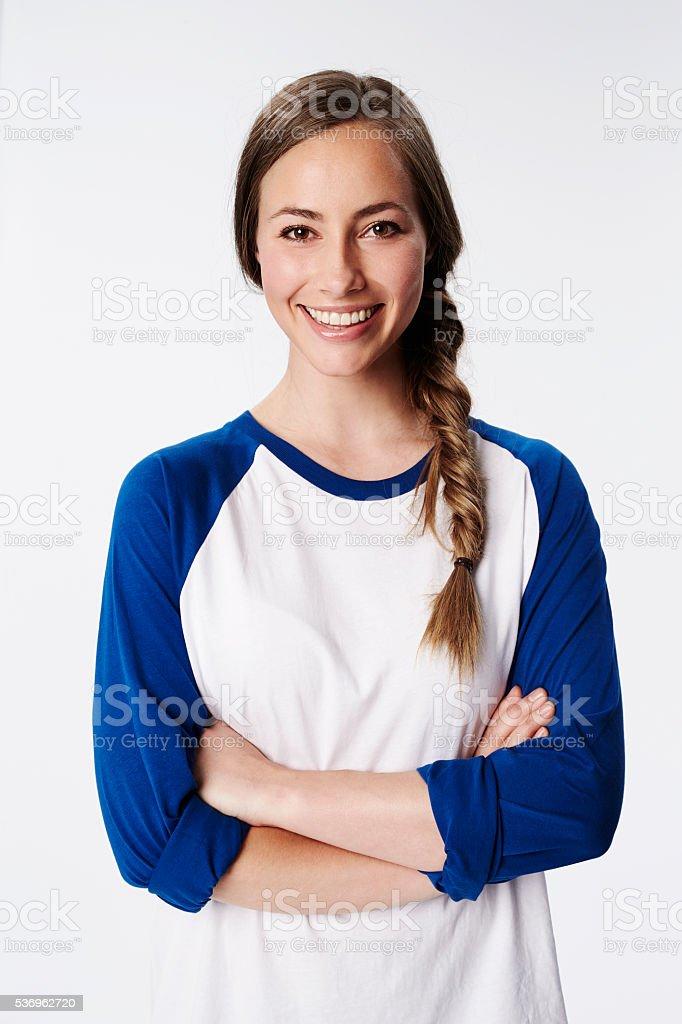 Smiling beautiful brunette woman, portrait stock photo