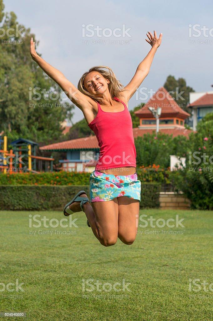 smiling beautiful curly blonde hair slim girl fashion portrait stock photo