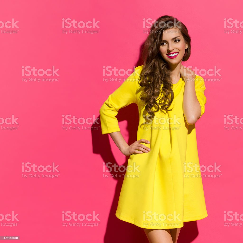 Smiling Beautiful Girl And Pink Copy Space stock photo