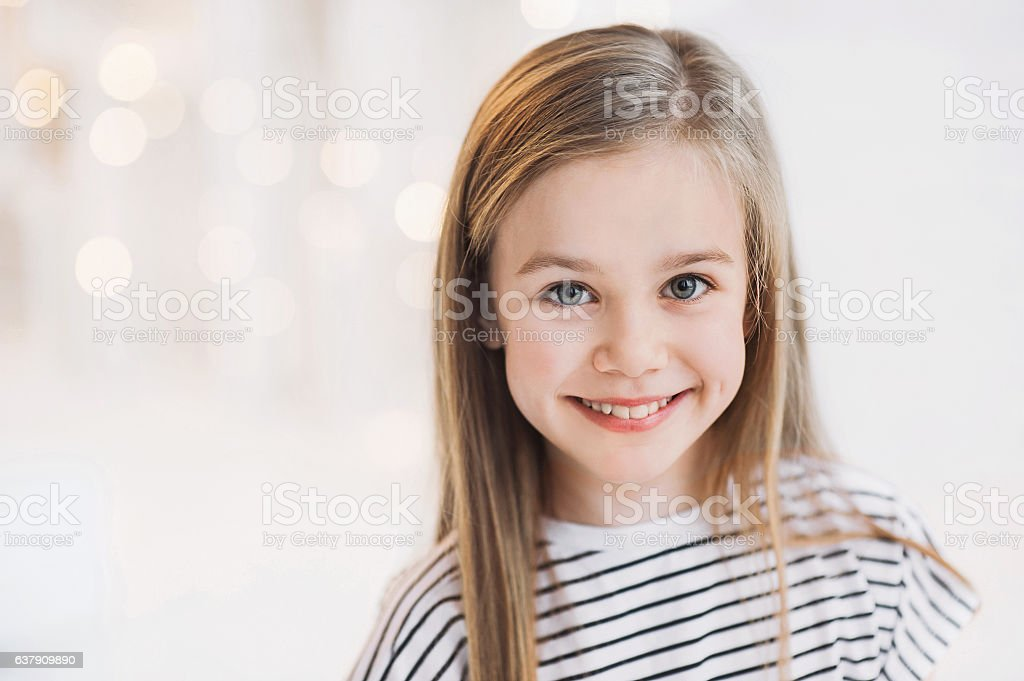 Smiling beautiful girl portrait stock photo