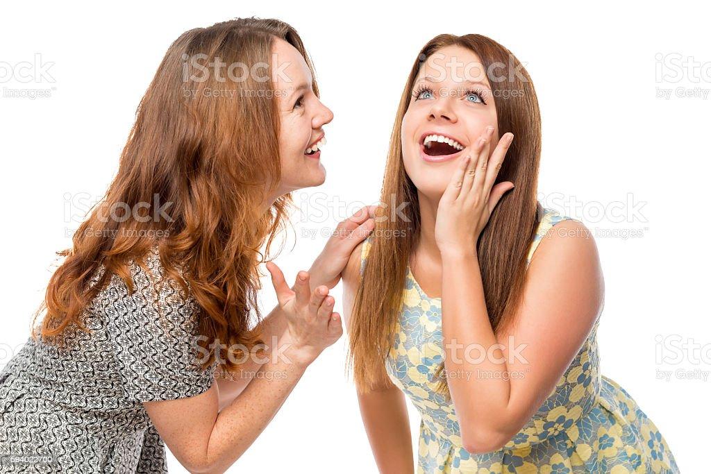 smiling beautiful girlfriends gossiping on a white background stock photo