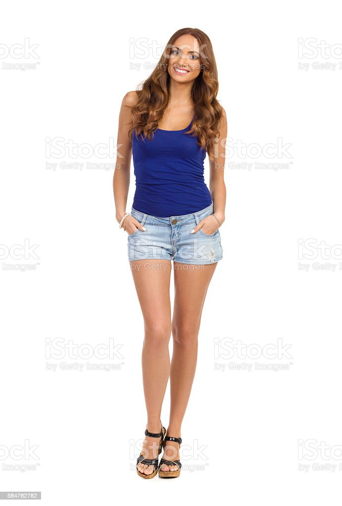 Smiling Beautiful Woman Full Length Isolated stock photo