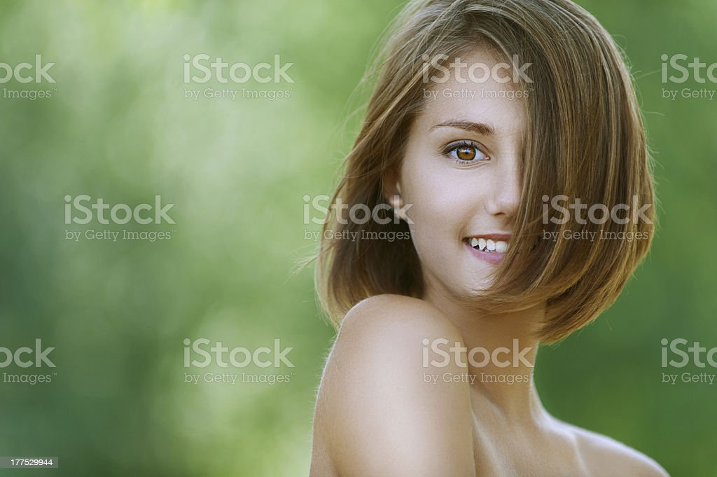 smiling beautiful young woman close up royalty-free stock photo