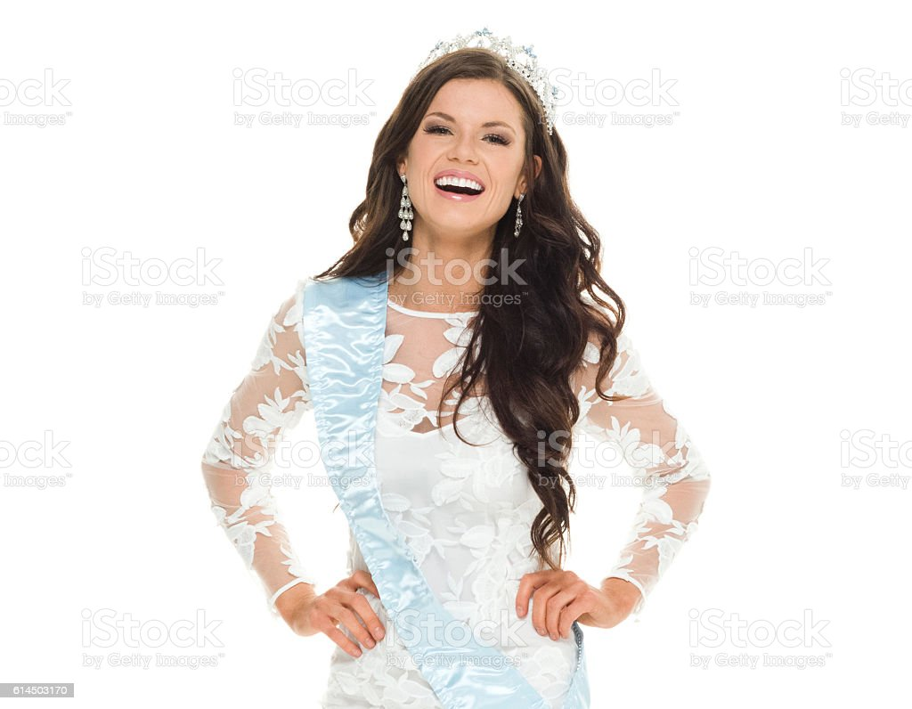 Smiling beauty queen looking at camera stock photo