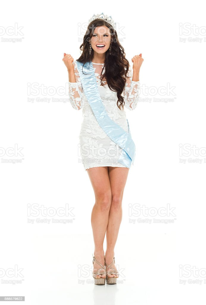 Smiling beauty queen looking away stock photo