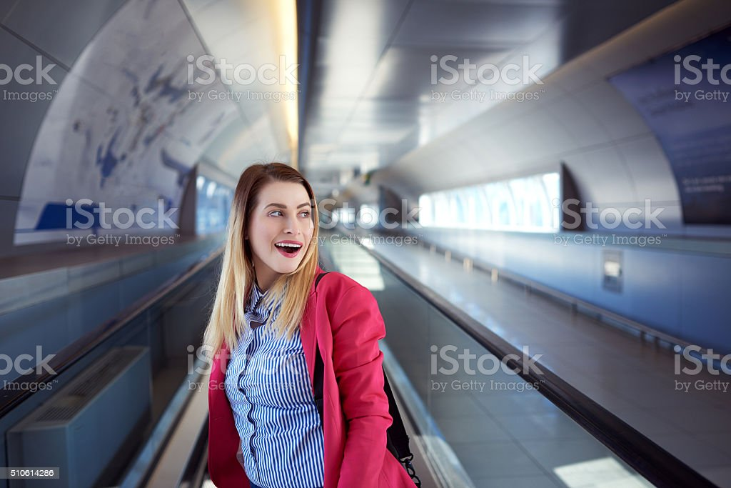smiling before my trip stock photo