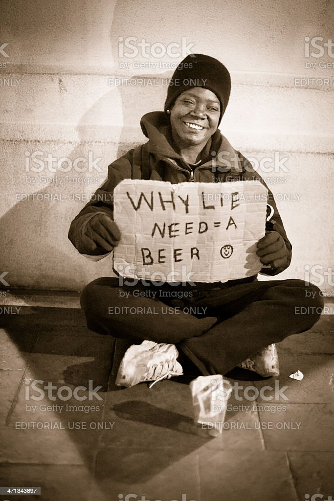 Smiling beggar royalty-free stock photo