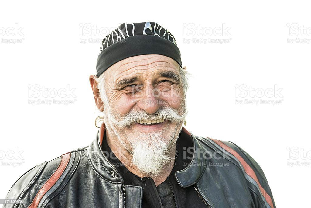 smiling biker isolated on white stock photo
