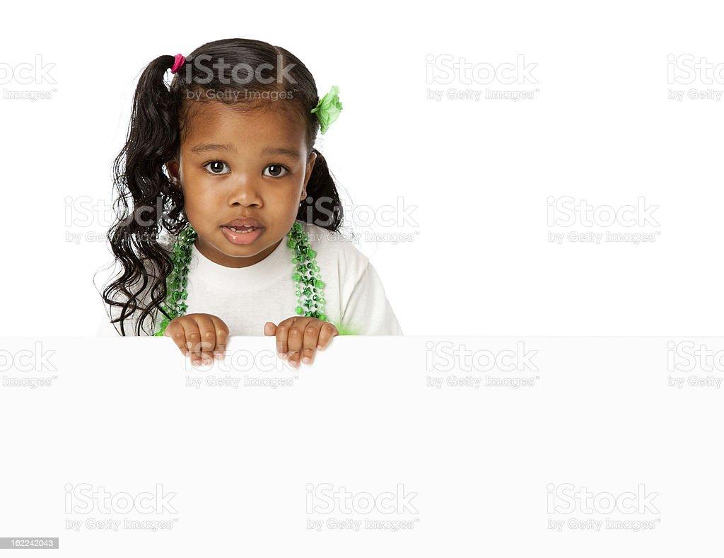 Smiling Black Little Girl Holding Blank Sign royalty-free stock photo