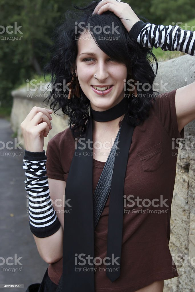 Smiling black-haired girl royalty-free stock photo