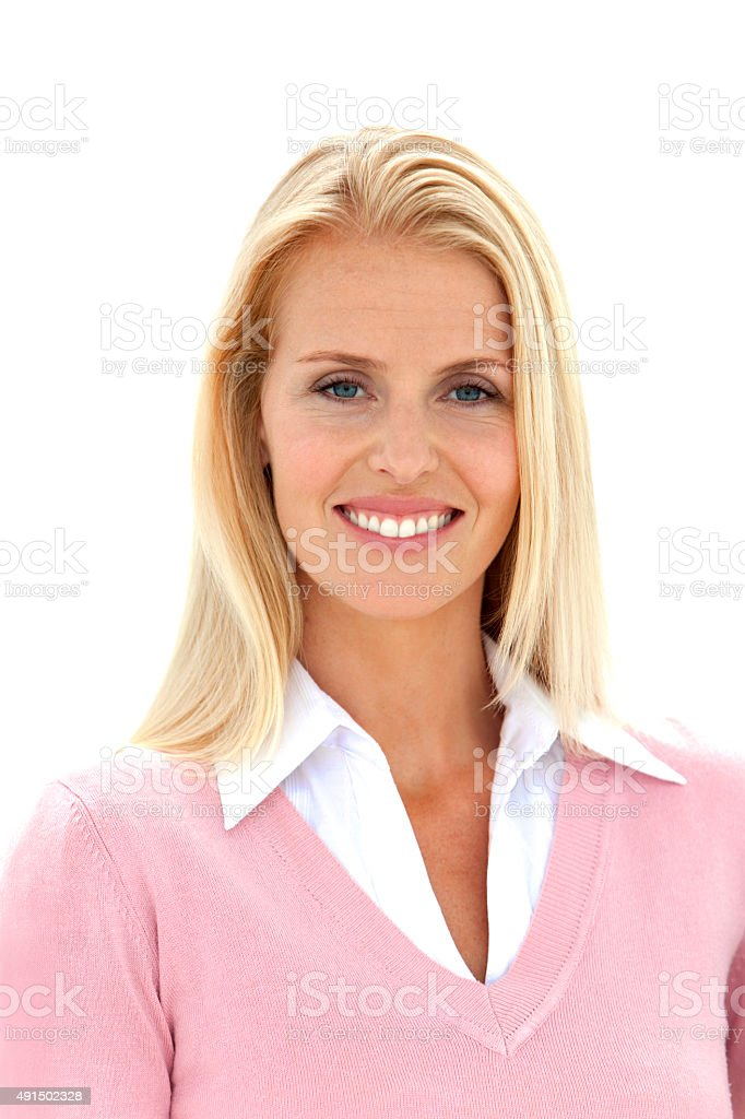 Smiling blond hair woman stock photo