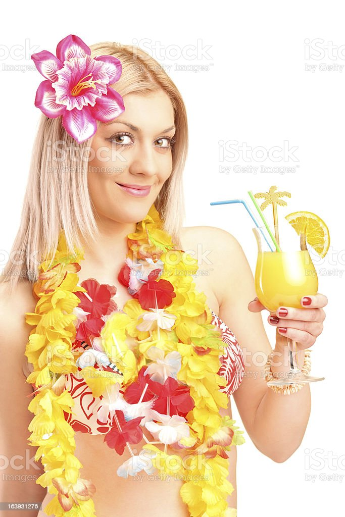 Smiling blond woman dressed in costume drinking cocktail royalty-free stock photo