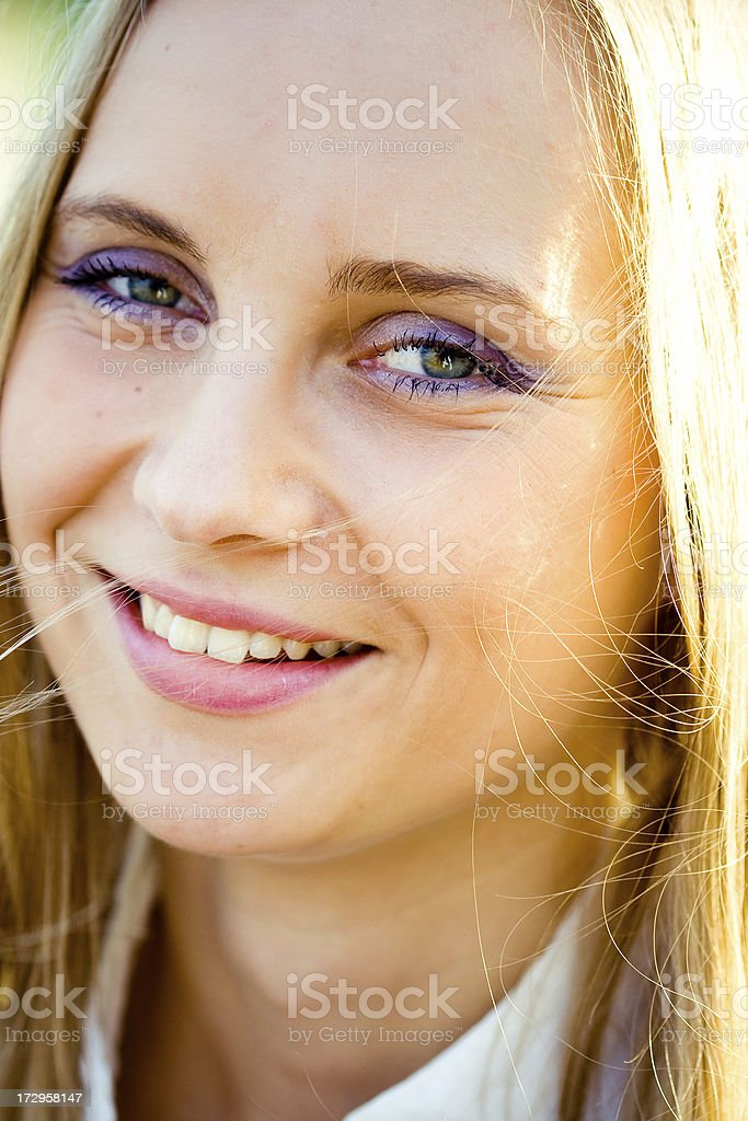 smiling blonde stock photo