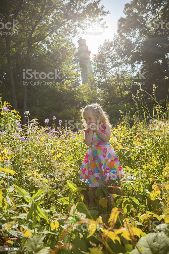 Smiling blue eyed blonde girl standing in field of flowers royalty-free stock photo