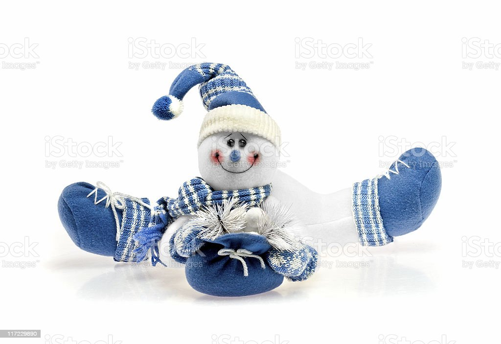 smiling blue snowman royalty-free stock photo